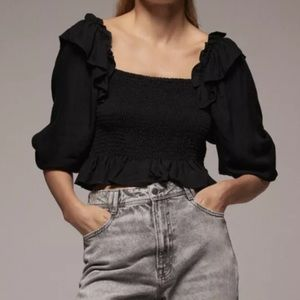 ZARA - Stretchy Bodice Top with Puff Sleeves in Black